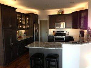 Granite America White Stone Dark Cabinets Kitchen Lexington