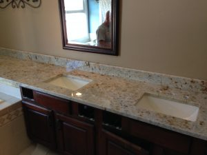Colonial Cream Vanity Over Tub